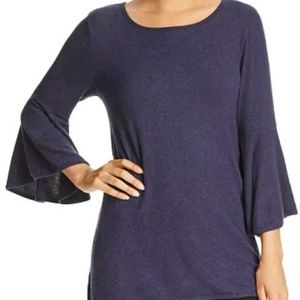 Nally & Millie Navy Blue Knit Bell Sleeve Top Sz L